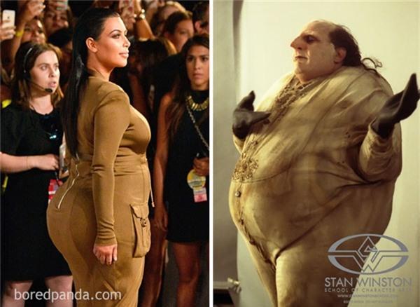 Thời trang của Kim Kardashian luôn là đề tài bàn tán không chán của khán giả. Bộ váy màu nâu sang chảnh của mỹ nhân này lại được mang ra đối chiếu với hình ảnh của dị nhân béo ịPenguin. Và thật bất ngờ, giống nhau đến 90% đấy!