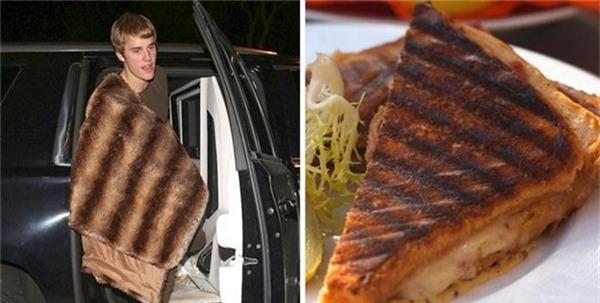 JustinBieber dường như đang vác miếng bánh nướng to tướng trên người.