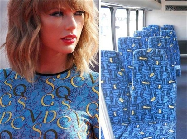 Thoạt nhìn, chắc chắn bạn sẽ khó nhận ra điểm khác biệt giữa chiếc áo của Taylor Swift và hàng ghế trên xe.