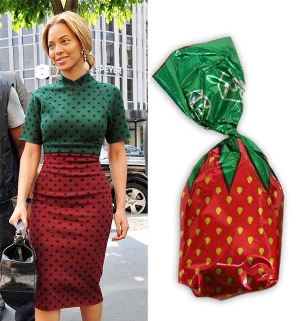 Viên kẹo dâu ngọt ngào mang tên Beyonce với sự trùng khớp từ áo, chân váy của cô với miếng giấy gói bên ngoài.