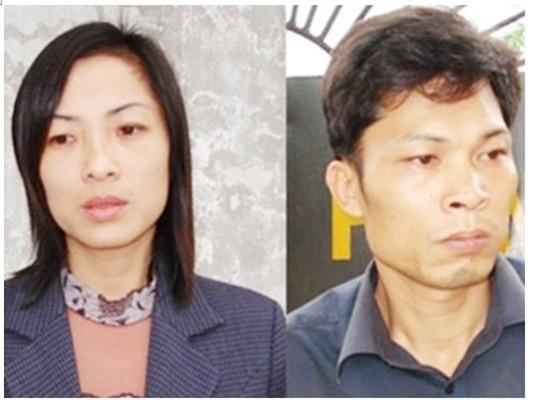 Bị cáo Bùi Hữu Khuyến và Nguyễn Thị Thơm