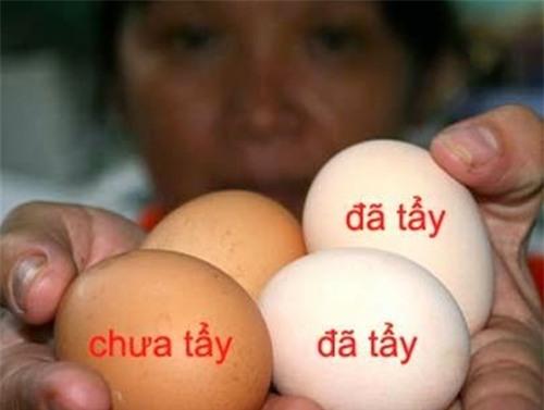 mẹo hay, phân biệt, trứng gà tẩy trắng, trứng gà công nghiệp, trứng gà ta