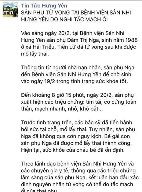 san phu bat ngo tu vong sau khi sinh mo lay thai nhi - 1
