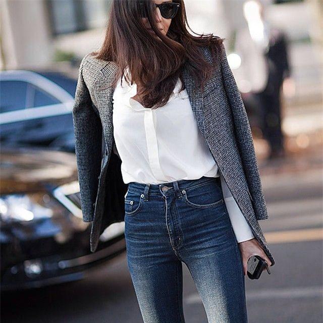Đổi gió cho trang phục công sở hàng ngày với cặp đôi trời sinh: Quần jeans và áo blazers - Ảnh 4.