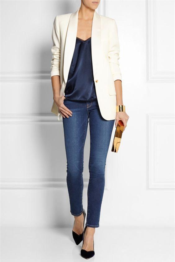 Đổi gió cho trang phục công sở hàng ngày với cặp đôi trời sinh: Quần jeans và áo blazers - Ảnh 6.