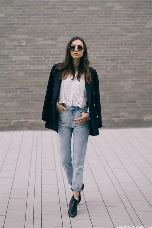 Đổi gió cho trang phục công sở hàng ngày với cặp đôi trời sinh: Quần jeans và áo blazers - Ảnh 7.