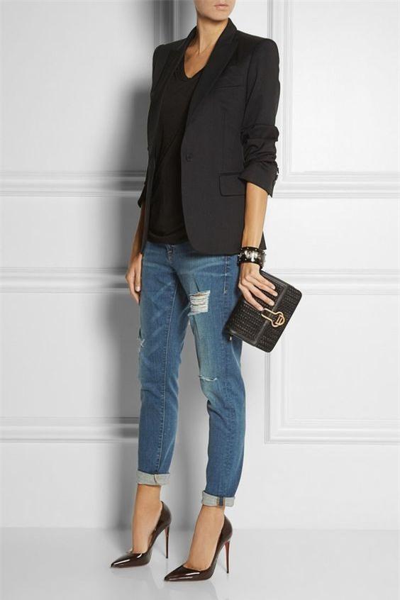 Đổi gió cho trang phục công sở hàng ngày với cặp đôi trời sinh: Quần jeans và áo blazers - Ảnh 9.