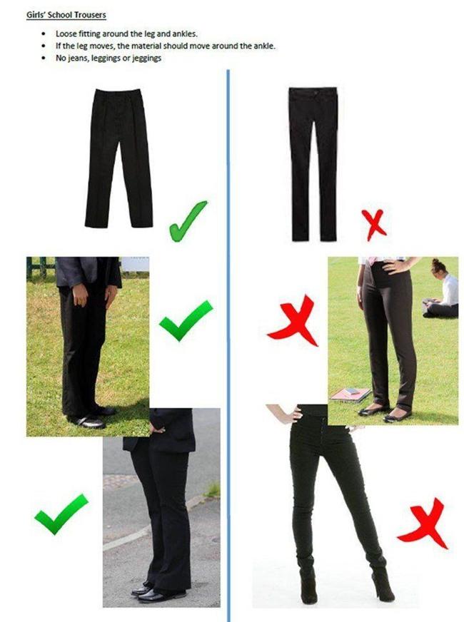 quần chật, đồng phục, quy định đồng phục