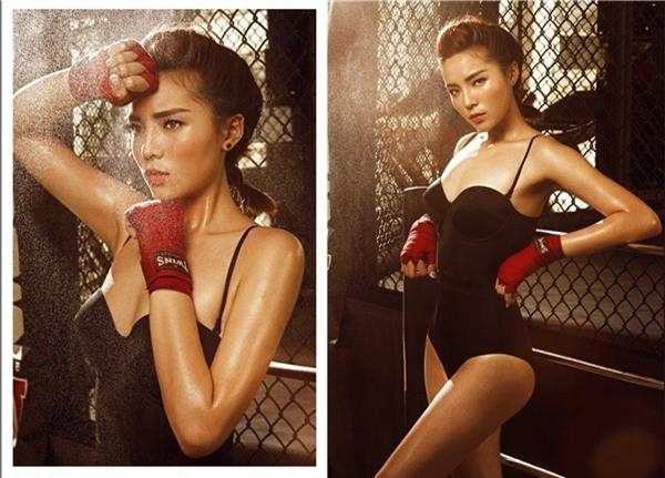 Hình ảnh gợi cảm hiếm hoi của Hoa hậu Kỳ Duyên với bikini một mảnh cũng khiến khán già không ngừng xuýt xoa, mê đắm.