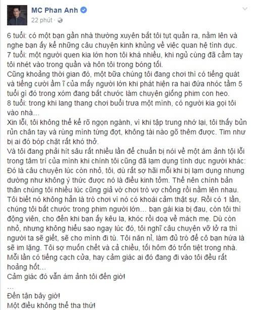 MC Phan Anh, MC Phan Anh bị lạm dụng tình dục, MC Phan Anh lạm dụng tình dục, sao Việt