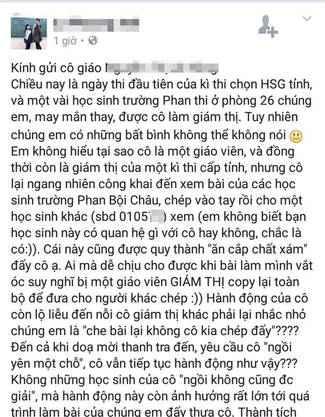 Dòng trạng thái gây bão của Lê Thị Phương Anh về việc giám thị ăn cắp chất xám thí sinh tại kỳ thi Học sinh giỏi tỉnh Nghệ An diễn ra vào ngày 14/3.