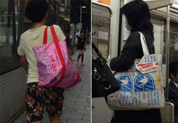 Túi cám con cò, thời trang tái chế, thời trang nhật bản,