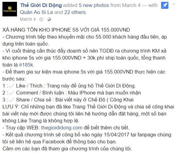 Giả fanpage Thế Giới Di Động bán iPhone giá 155.000 đồng - Ảnh 1.
