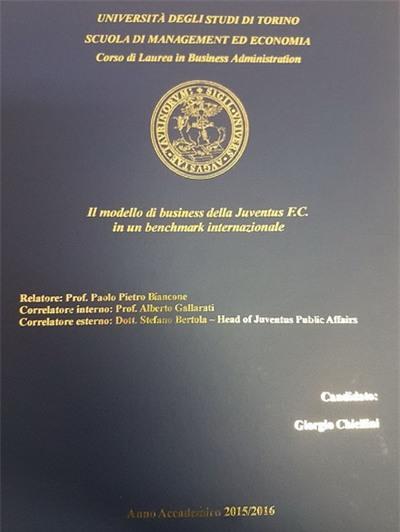 Bìa luận án tốt nghiệp của Chiellini