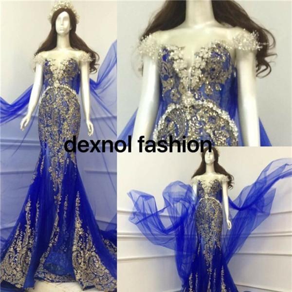 Theo một số thông tin bên lề, bộ váy màu xanh này sẽ được Nguyễn Thị Thành chọn diện trong phần thi trang phục dạ hội.