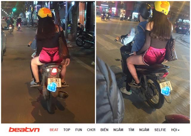 Không ít các cô gái trẻ mặc hở hang quá đà, có hành vi thiếu ý thức khi tham gia giao thông đang phải nhận những cái nhìn thiếu thiện cảm của người đi đường. Ảnh: Facebook/Beat...