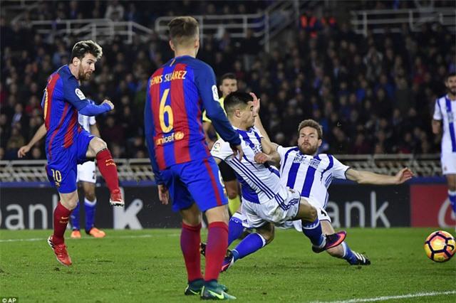 Messi đã ghi bàn ở trận hòa Sociedad 1-1 ở lượt đi