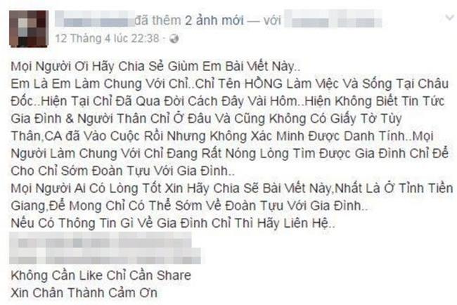Người phụ nữ xinh đẹp mất vì ung thư khi bên cạnh không người thân thích, bạn bè lấy facebook cô đăng tìm gia đình - Ảnh 1.