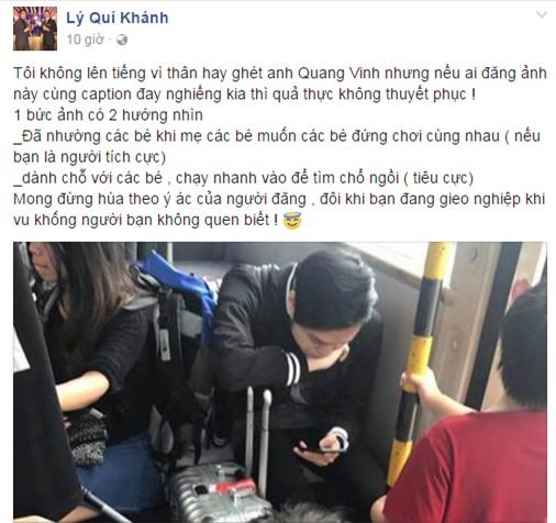 Lý Quí Khánh bảo vệ Quang Vinh trước nghi vấn không nhường ghế cho trẻ nhỏ - Ảnh 1.