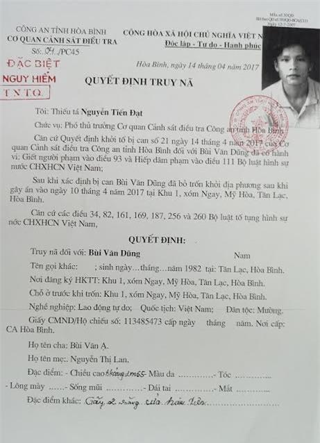Ngày 14/4, cơ quan cảnh sát điều tra công an tỉnh Hòa Bình đã ra quyết định truy nã Bùi Văn Dũng. Sau khi xác định đối tượng bị truy nã đã chết, cơ quan công an đã ra quyết định đình nã