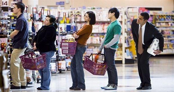 xếp hàng, siêu thị,