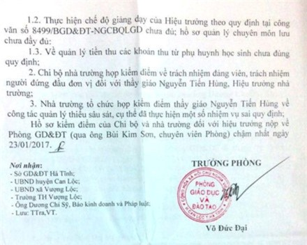 Doan kiem tra ve, ho so giang day cua hieu truong 'khong canh ma bay' hinh anh 2