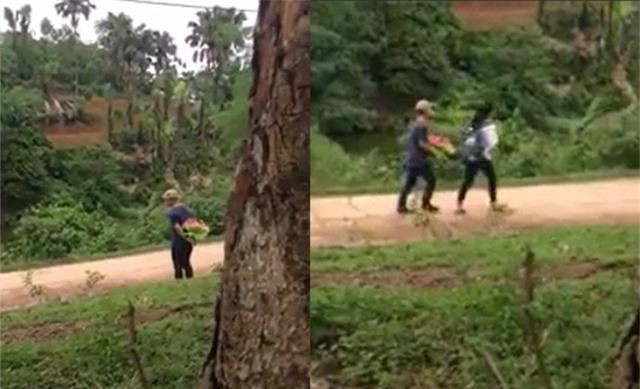 Chàng trai kiên nhẫn đứng đợi cô gái đi học về, nhưng khi nhìn thấy anh thì cô gái lại lạnh lùng bỏ đi, mặc kệ anh chàng đuổi theo trình bày. (Ảnh cắt từ clip)