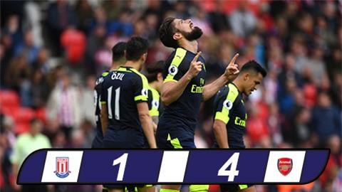 Đại thắng Stoke, Arsenal tiếp tục nuôi mộng Top 4