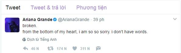 Ariana Grande lên tiếng sau vụ nổ bom tại Anh: Từ tận đáy lòng mình, tôi thực sự rất lấy làm tiếc - Ảnh 1.