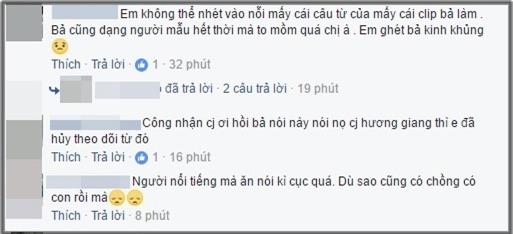 Nhiều khán giả đã lên tiếng phản đối cách hành xử của Trang Trần và cho rằng cô ăn nói thiếu văn minh.(Ảnh: Chụp từ FBNV)