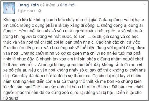 Dòng trạng thái mới nhất của Trang Trần sau khi đăng clip chửi mắng đàn chị. (Ảnh: Chụp từ FBNV)