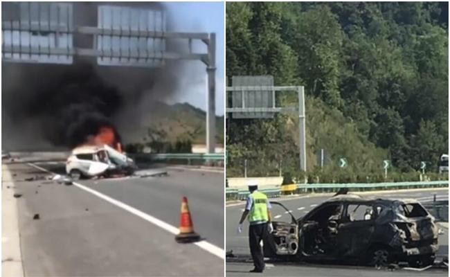 Va chạm sau nổ lốp, xe ô tô bốc cháy ngùn ngụt giữa đường, nữ tài xế đau đớn nhìn chồng bị thiêu rụi - Ảnh 1.