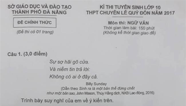 Tranh luan ve de thi Ngu van vao truong chuyen o Da Nang hinh anh 1