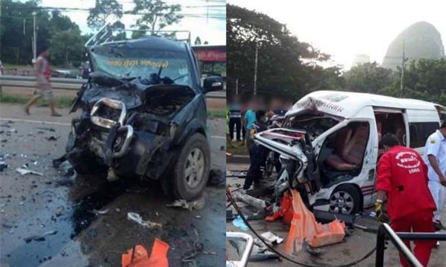 Thái Lan: Xe khách 16 chỗ đâm vào xe bán tải làm 4 người thiệt mạng, trong đó có một phụ nữ người Việt - Ảnh 1.
