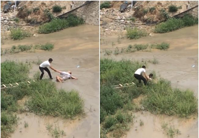 Cô gái trẻ quằn quại đòi nhảy sông tự tử ở vùng nước ngập chưa đến đầu gối - Ảnh 2.