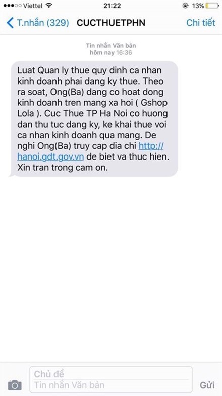 Tin nhắn của Cục Thuế Hà Nội yêu cầu người bán hàng trên facebook nộp thuế