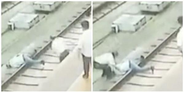 Clip: Bị sàm sỡ, người phụ nữ đẩy đối phương ngã sấp mặt xuống đường ray tàu hỏa - Ảnh 3.