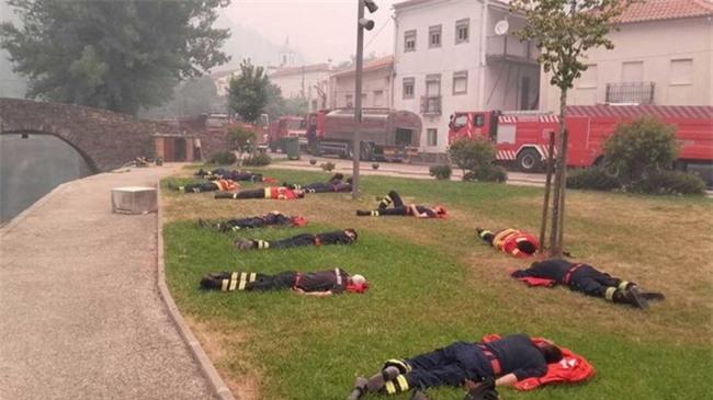 Hình ảnh những người lính cứu hỏa nằm gục trên bãi cỏ khiến cả thế giới cúi mình khâm phục - Ảnh 1.