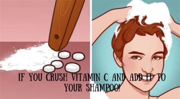 hạ màu tóc, màu tóc, hạ màu tóc nhuộm, nhuộm tóc, thêm vitamin C vào dầu gội, giảm bớt màu nhuộm tóc, nghiền Vitamin C và thêm vào dầu gội đầu, giảm độ đậm của màu tóc nhuộm