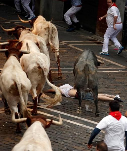 Tây Ban Nha: Hàng loạt du khách bị húc trọng thương trong lễ hội bò tót - Ảnh 2.