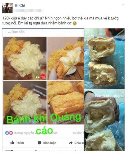 Tốn 120k mua bánh mì phô mai quảng cáo ruột đầy đặc quánh, cô nàng nhận về ổ bột cứng đơ phết tí tẹo nhân - Ảnh 1.