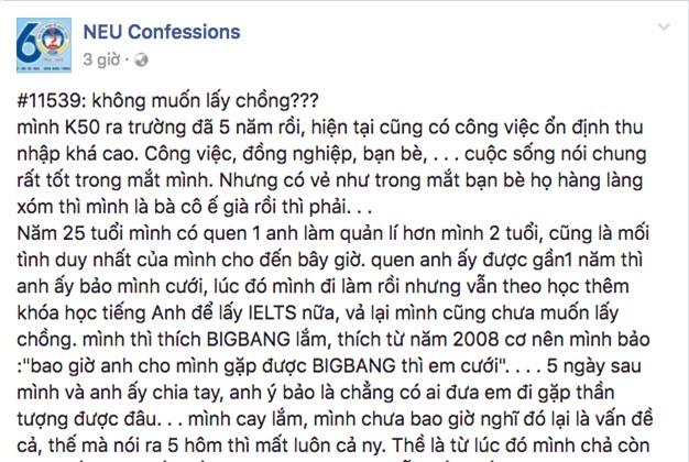Nói bạn trai bao giờ cho đi xem Big Bang thì cưới, 5 ngày sau cô gái bị chia tay không thương tiếc - Ảnh 1.