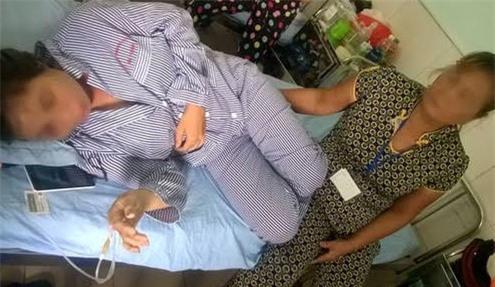 Chị L tại bệnh viện (ảnh CTV)