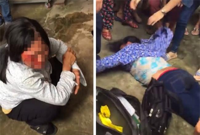 Bà Bảy và bà Phúc bị người dân ở Sóc Sơn hành hung vì nghi bắt cóc trẻ con.