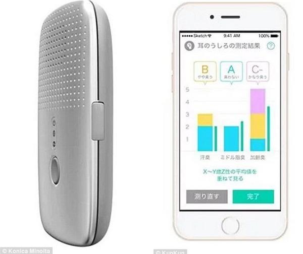 """KunKun bao gồm một thiết bị nhỏ gọn và một ứng dụng di động để """"chấm điểm"""" mức độ mùi của cơ thể"""