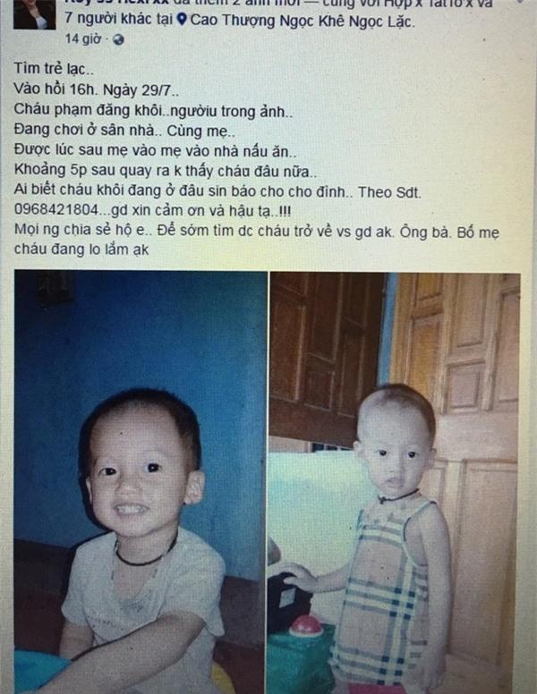 Nhiều tài khoản facebook đang chia sẻ hình ảnh và những thông tin về cháu Khôi
