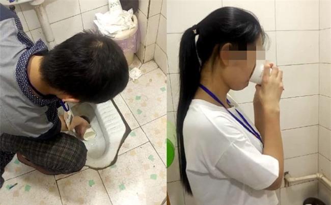 Làm việc kém hiệu quả, nhân viên Trung Quốc bị bắt uống nước trong bệ xí xổm
