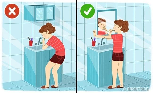 Đánh răng, rửa bát cũng làm hỏng cột sống vì lý do này - 1
