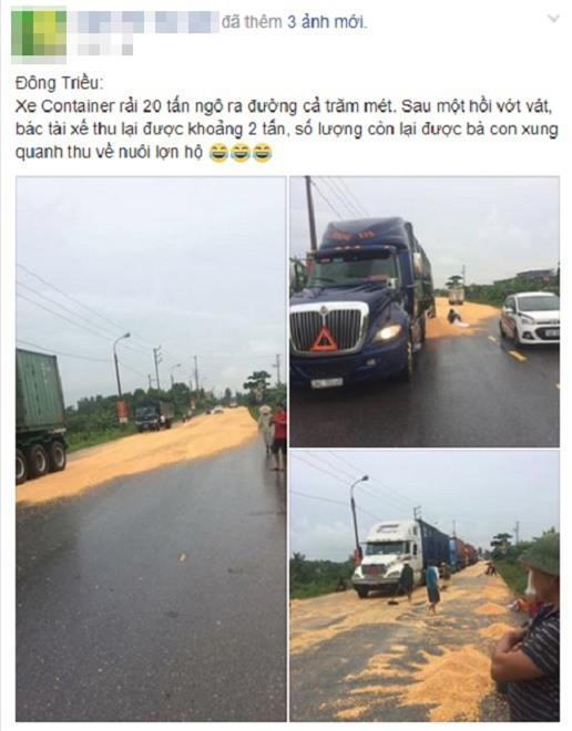 "tai xe container ke lai giay phut bat luc nhin dan ""hoi"" hang tan ngo hinh anh 1"