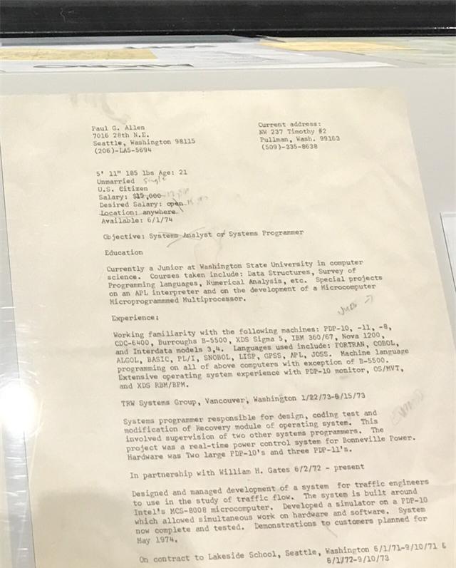 CV của Paul Allen - nhà đồng sáng lập Microsoft